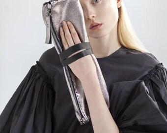 Foldable Silver Clutch - Silver leather purse - Handmade bag - Evening bag