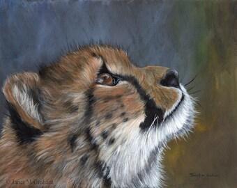 Cheetah Cub Big Cat  Animal SFA  - Original hand painted acrylic wildlife painting by Australian Artist Janet M Graham