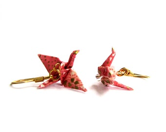 Tiny Origami Crane Earrings Pink with White and Gold Flecks 3/4""