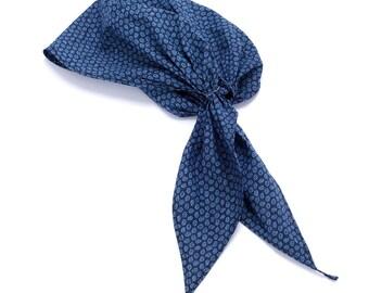 Paisley Turban Pre-tied Headscarf - Midnight Blue