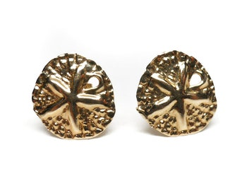 14K Yellow GOLD Stud Sand Dollar Earrings