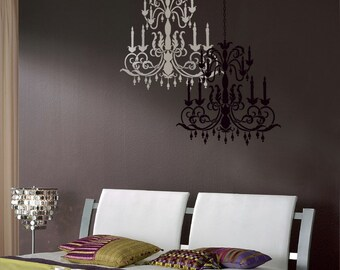 Chandelier decals etsy reusable stencil chandelier size med wall stencils better than wall decals aloadofball Choice Image