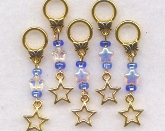 Gold Stars Knitting Stitch Markers No-snag AB Crystal Stars Twinkle Set of 5/SM63B