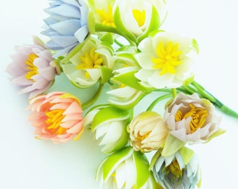 Miniature Polymer Clay Flowers Supplies Water Lily in colorful, 12 stems
