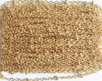 32ft spool Light Gold plated brass chain with beads, light gold beaded chain, Bulk small cable chain
