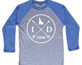 Homeland Tees Idaho Arrow Tri-Blend Raglan Baseball Shirt
