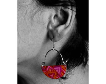 Bohemain earrings made of resin, ink and silver 925