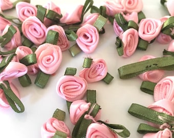 20, pink ribbon roses, satin ribbon roses, pink satin roses, sew on flowers, small ribbon roses, pink ribbon flowers, flower appliques