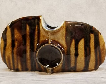 VTG 1979 Studio Art Abstract Sculpture 'Eye' Vase, Signed Dated German Pottery Midcentury Modern Fat Lava Era