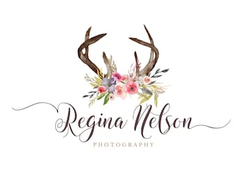 Premade Watercolor Logo -  Antlers and Flowers Logo - Photography Logo and Watermark Design - Boutique Logo & Branding