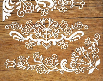 Friezes floral SVG files for Silhouette Cameo and Cricut. floral clipart PNG. Wedding paper craft template. Floral stencils for card making.