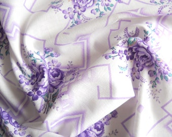 lilac floral fabric vintage french fabric  antique 1930's floral fabric  french floral fabric 177