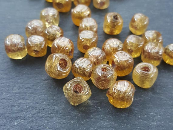 Bulk   30 Caramel Honey Yellow Rustic Cube Glass Bead   Square Dice Shape Traditional Turkish Artisan Handmade   7mm   Turkish Glass Beads by Etsy