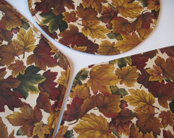 Autumn Leaves Wedge Placemats Reversible Fall Wedge Placemats Fall Leaves Wedge  Wedge Placemats Brown wedge Placemats for a round table