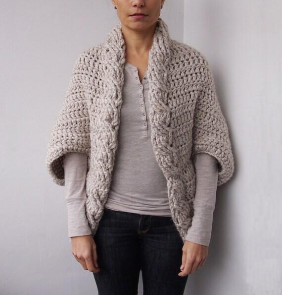 Crochet Pattern Women Cable Shrug Bulky Sweater Cape Oversized