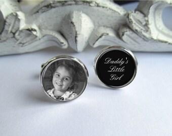 Mens Cufflinks, Photo Cufflinks, Daddy's Little Girl, Personalized Cufflinks