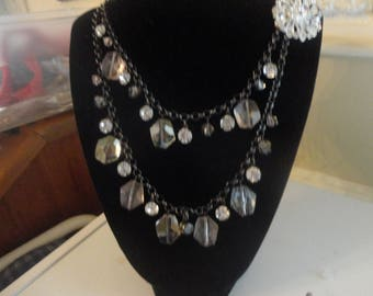 necklace double chain with  rhinestones and glass crystals on a chain vintage.22 in long