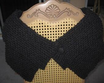 Handknit Charcoal Wool Blend Shrug Shawl Collar & Button