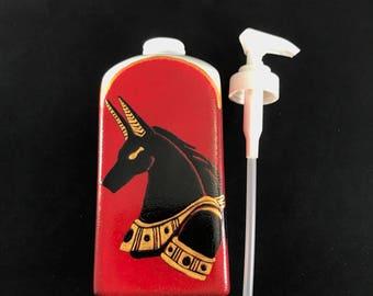 Hand Painted Soap Dispenser - Eygptian God, Anubis, Unique, Hand Painted Design, Egyptian Bathroom Decor