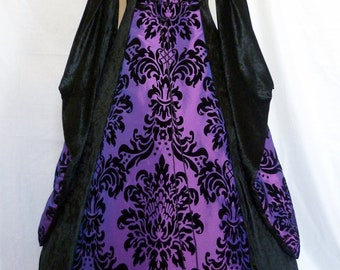 Gothic dress medieval gown pagan costume black and purple Renaissance wedding Dress Halloween Wedding custom made to any size