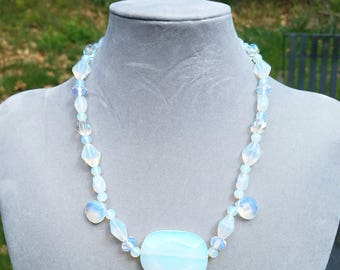 Faux opal stone, beaded necklace, 19 inches