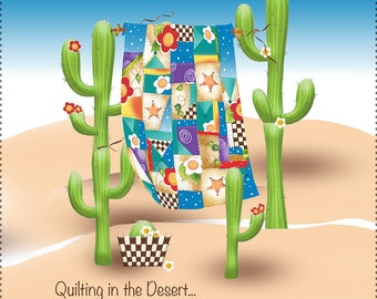 """Quilting in the Desert - New 7.5"""" Square Fabric Art Panel"""