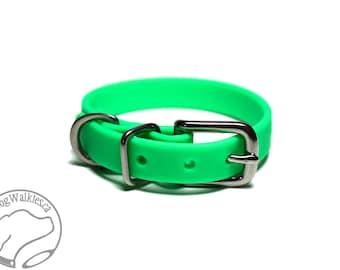"Neon Apple Green Little Dog Collar - 1/2"" (12mm) Thin Biothane Dog Collars - Waterproof Small Dog Collar"