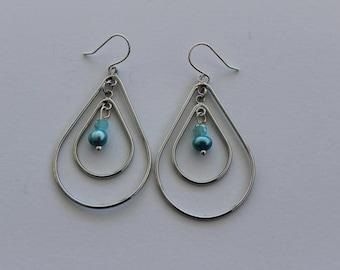 Silver Teardrop Double Hoop Blue Earrings