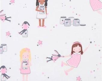 218977 white Michael Miller fabric girl children pink dress Sprinkle Little Stars