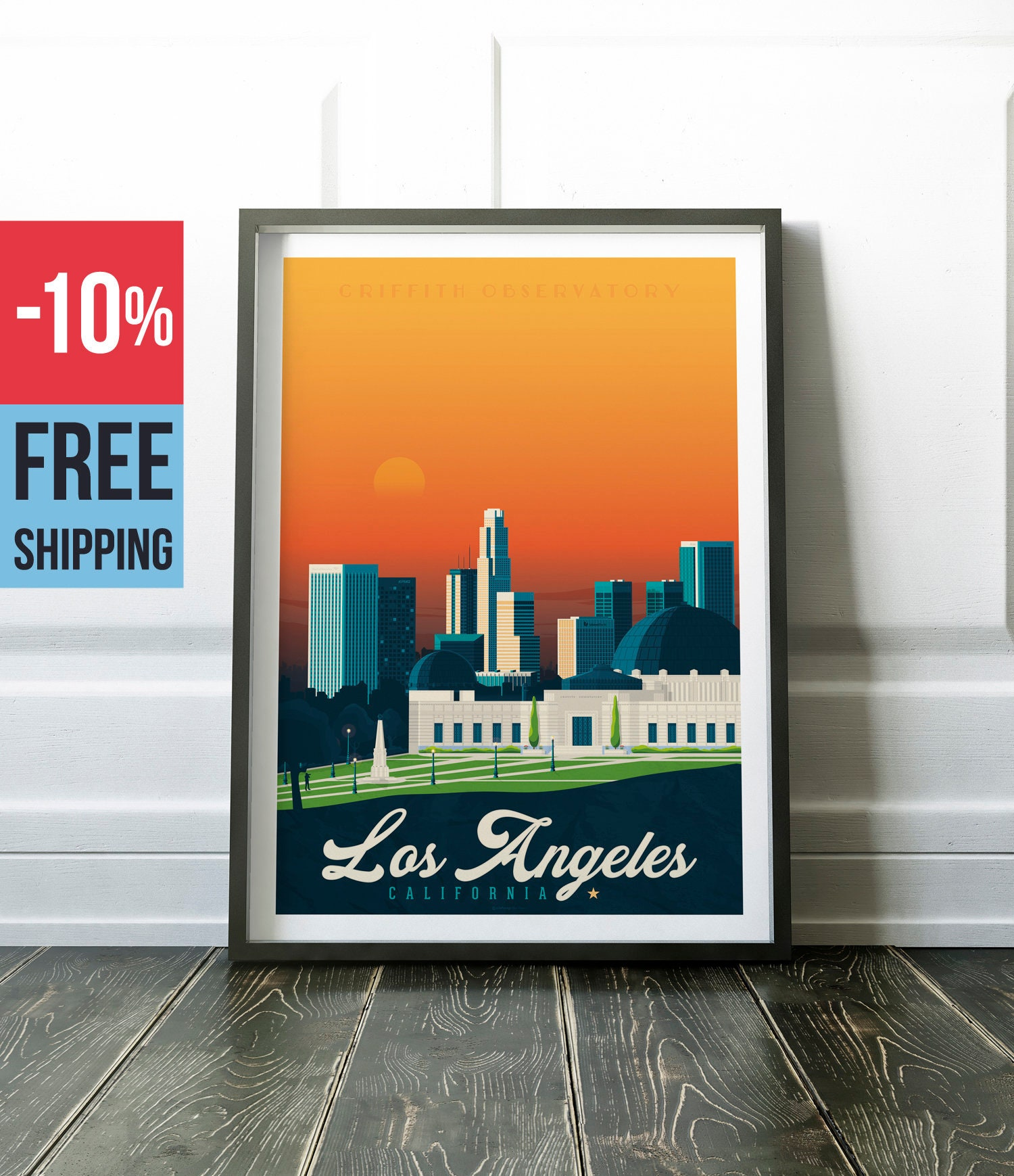 Los Angeles California USA America Vintage Travel Poster, vintage ...