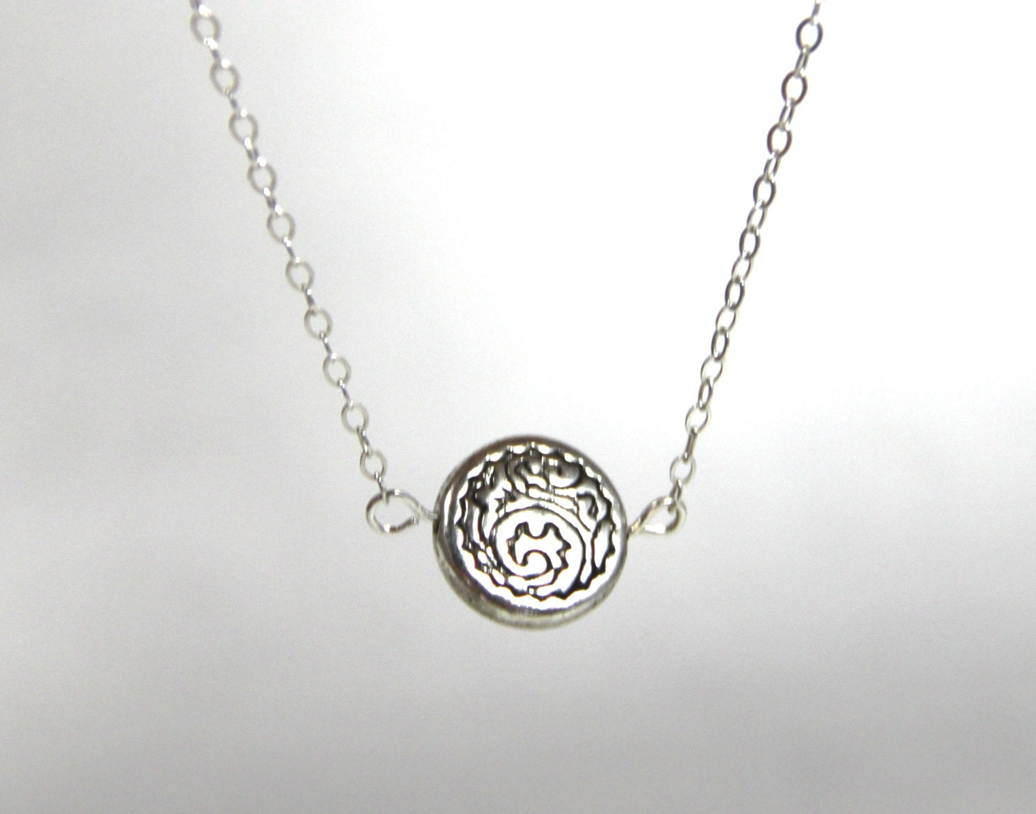 Round silver engraved pendant silver charm pendant layered necklace round silver engraved pendant silver charm pendant layered necklace sterling silver chain boho pendant ocean inspired lucky friendship gift mozeypictures Images