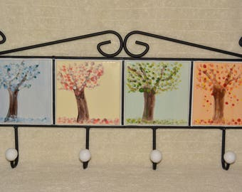 Coat Rack, Towel Rack, Leash Rack, 4 Seasons, Trees, Blue, Yellow, Green, Orange, Ceramic Tile, Cast Iron, 4 Hooks, Home Decor, Hand Painted