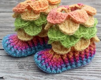 READY TO SHIP Crocodile Stitch Baby Booties Rainbow Mermaid Scales Slippers Socks, Dragon Cuff Egg, Owl, Unicorn, Blue, Pink, Yellow, Green