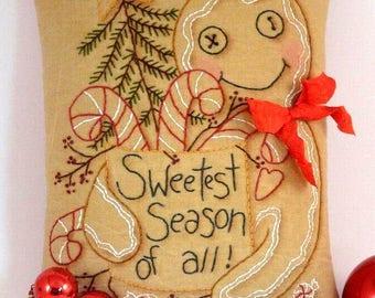 Christmas Gingerbread man embroidery PATTERN pdf - primitive stitchery pillow candy cane tree star pin keep cushion tuck seam binding