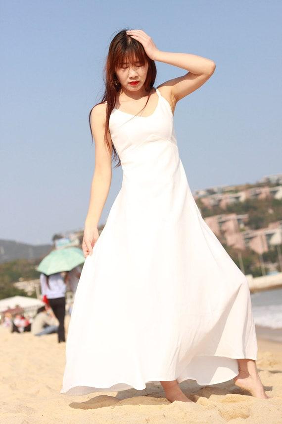spaghetti strap white maxi dress V neck sundress tunic
