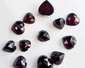 Garnet faceted  Heart Shape  , flat back , 8X8 mm to 11X11 mm size stone,  12 pieces , 38 Ct , M No.- 1735