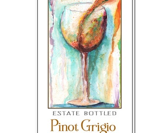 "White Wine Art Print, Personalized Wine Label Sign,  Fine Art Giclee Print, 10x20"", Customize With Your Name, Year, Location & Favorite Wine"