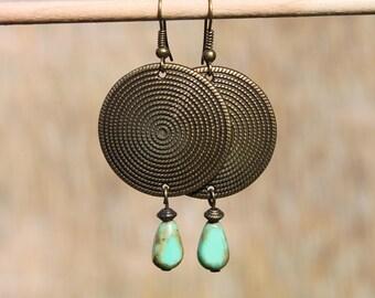 Green Earrings, Boho Earrings, Bohemian Earrings, Dangle Drop Earrings, Brass Earrings, Ethnic, Hippie, Gypsy, Christmas Gift for Women