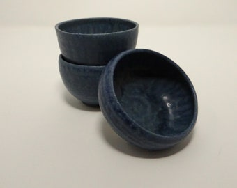 Three Mini Bowls or Succulent / Cactus Planters: Small Blue, Modern Dinnerware, Contemporary Tableware or Gardening