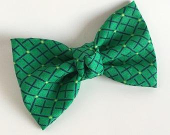 Fabric Bow - Green Grid
