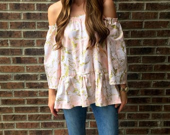 Pink Marble Off the Shoulder Bell Sleeve Top