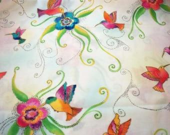 "Hummingbirds Fabric Laurel Burch  Splash Off White 17"" x 22"""