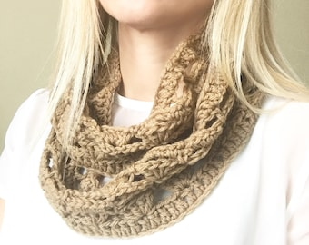 Light brown crocheted wool infinity scarf