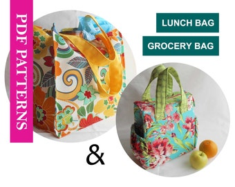 2 PDF Sewing Pattern Set, Insulated Lunch Bag Pattern (UPDATED),  Reusable Grocery Shopping Bag Pattern, Foldable Large Market Tote Pattern