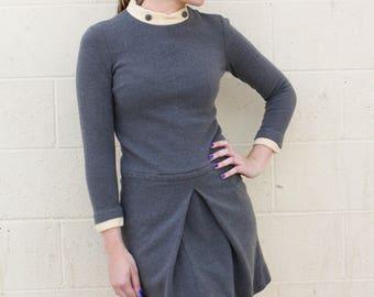 Vintage 1960's Mod Grey and Cream Mini Dress by Carol Brent // Size XS - S