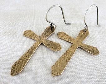 Bronze Earrings ~ Cross Earrings ~ Dangle Earrings ~ Minimalist Earrings ~ Religious Jewelry ~ Lightweight Earrings ~ Religious Earrings