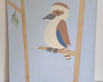 Nursery wall art, nursery wood art ,  hand painted kookaburra