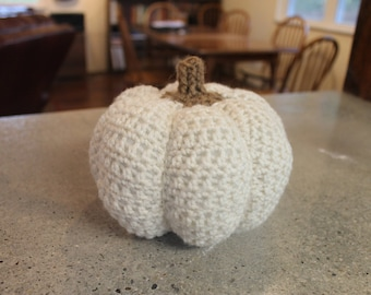 Medium Crocheted Stuffed Pumpkin Centerpiece Harvest Thanksgiving Amigurumi