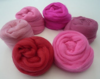 Heidifeathers Merino Wool Tops 'Plush Pinks'