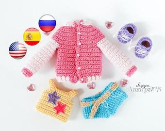 Patrón (SOLO ROPA) de Muñeca Naomi, Patrón Español, PDF, Patrón la muñeca Crochet